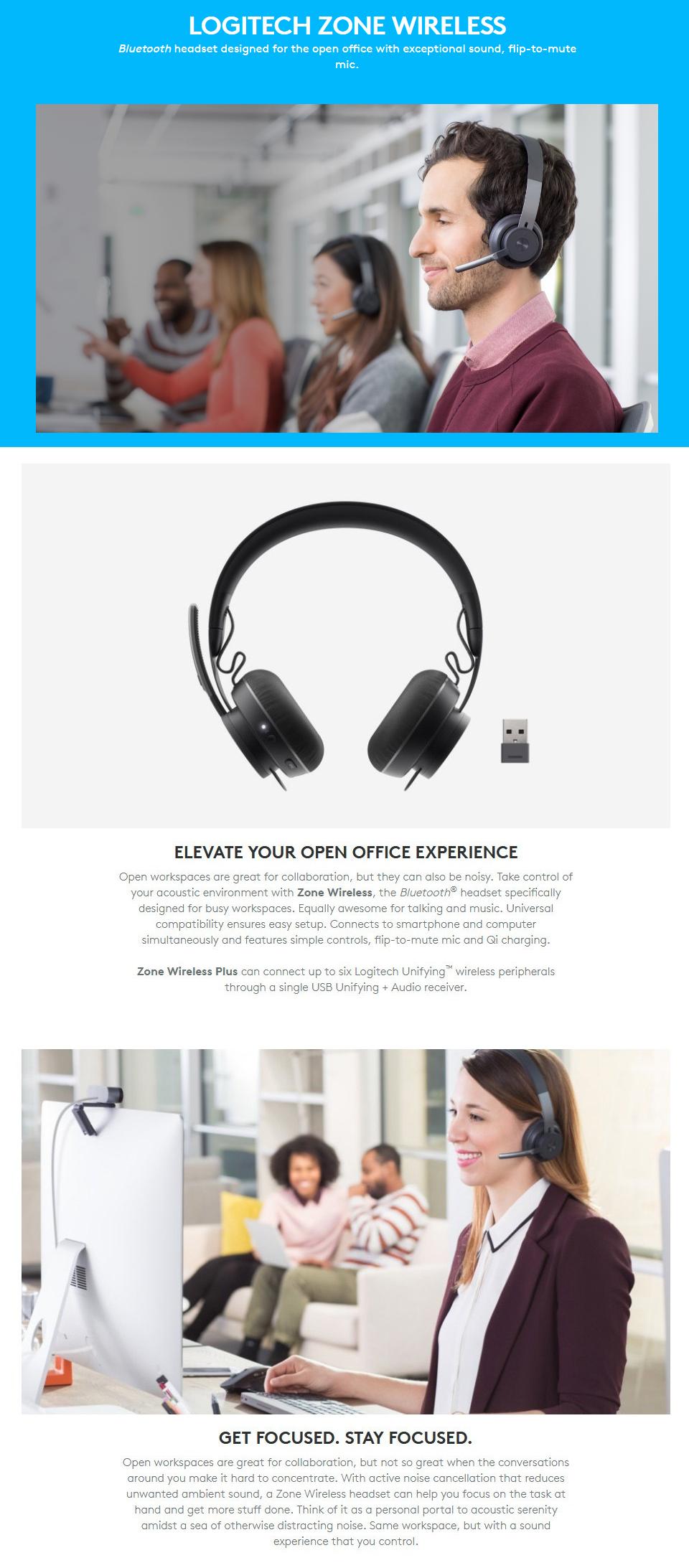 Buy Logitech Zone Wireless Bluetooth Headset 981 000799 Pc Case Gear Australia