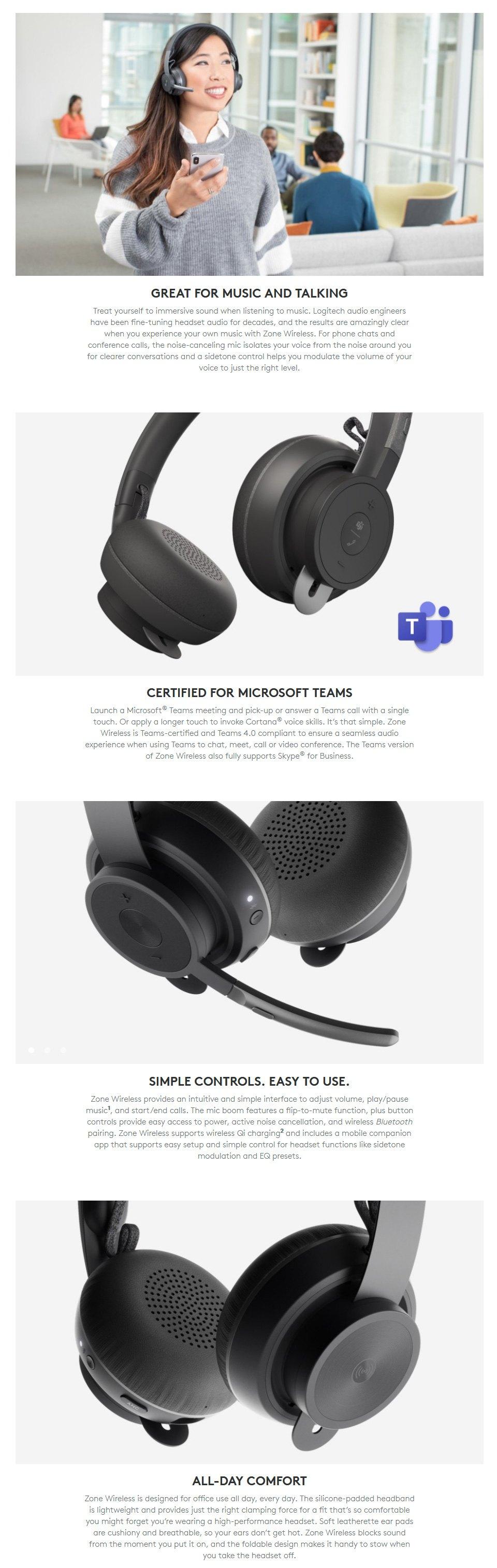 Logitech Zone Wireless Bluetooth Headset features 2