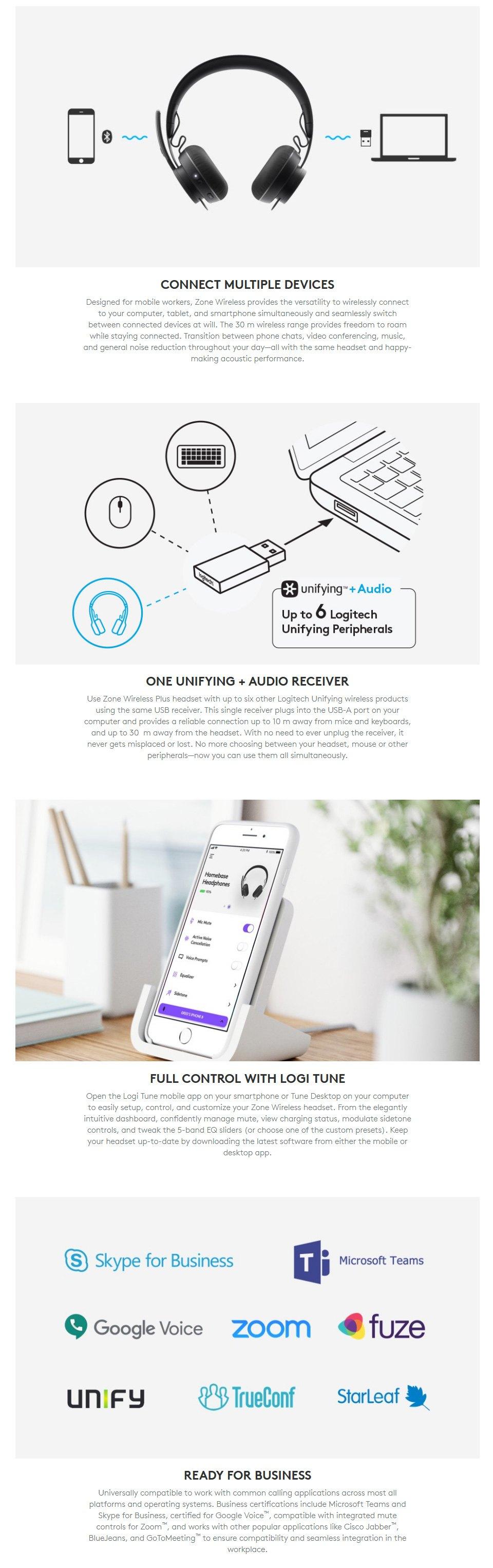 Logitech Zone Wireless Bluetooth Headset features 3