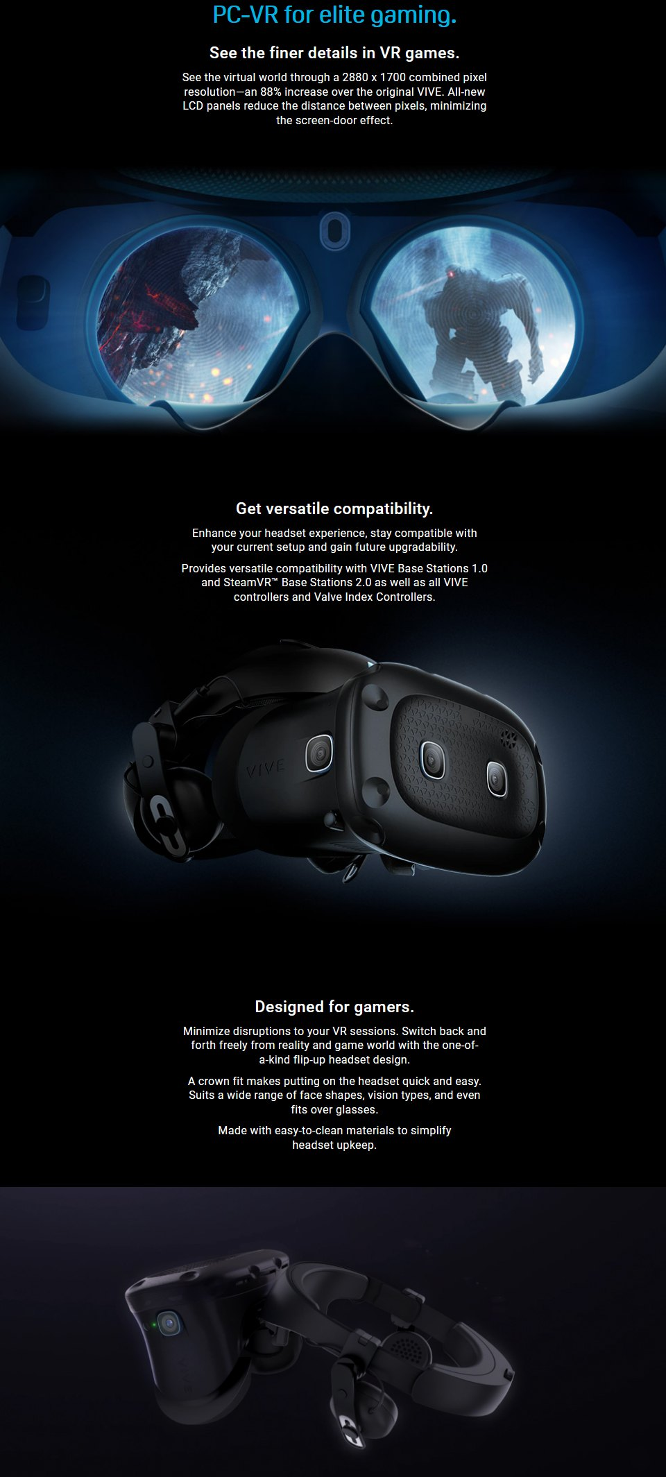HTC Vive Cosmos Elite Virtual Reality Headset features