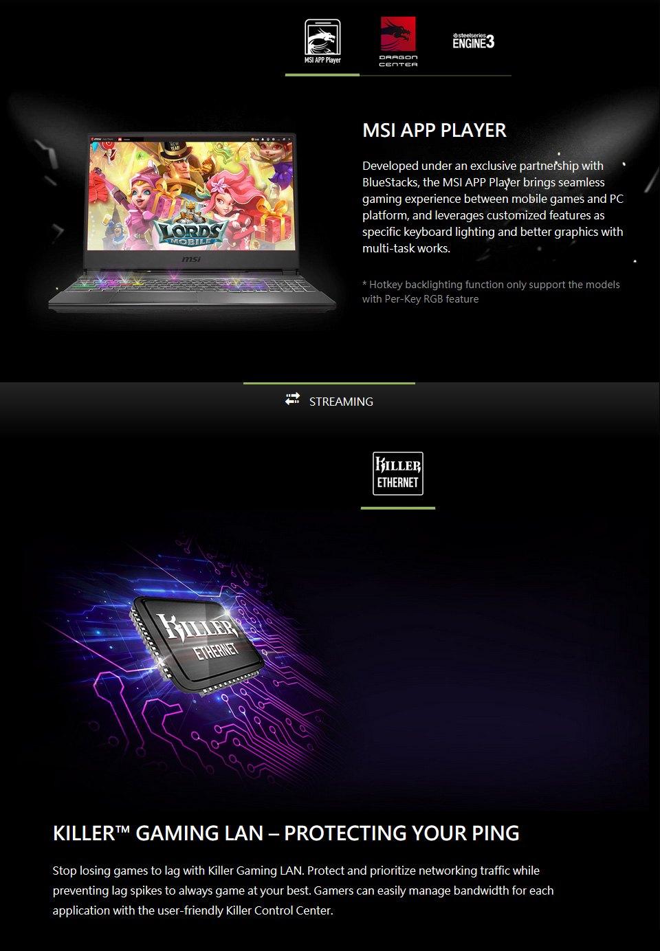 MSI Alpha AMD Ryzen 7 Radeon RX 5500M 15.6in 120Hz Laptop features 3