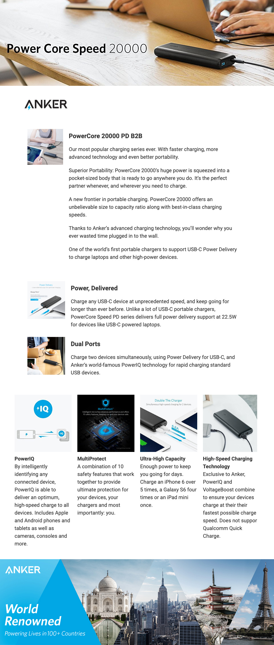 Anker PowerCore Speed 20000mAh PD Power Bank features