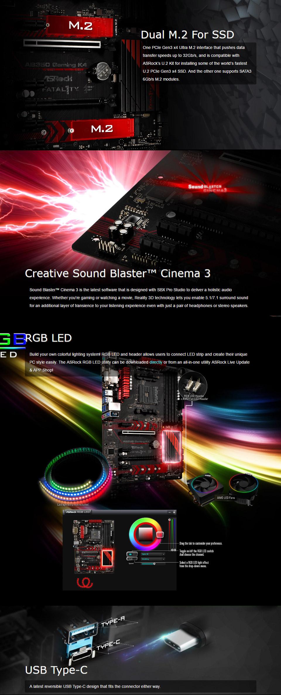 ASRock AB350 Gaming K4 Motherboard [AB350-GAMING-K4] : PC