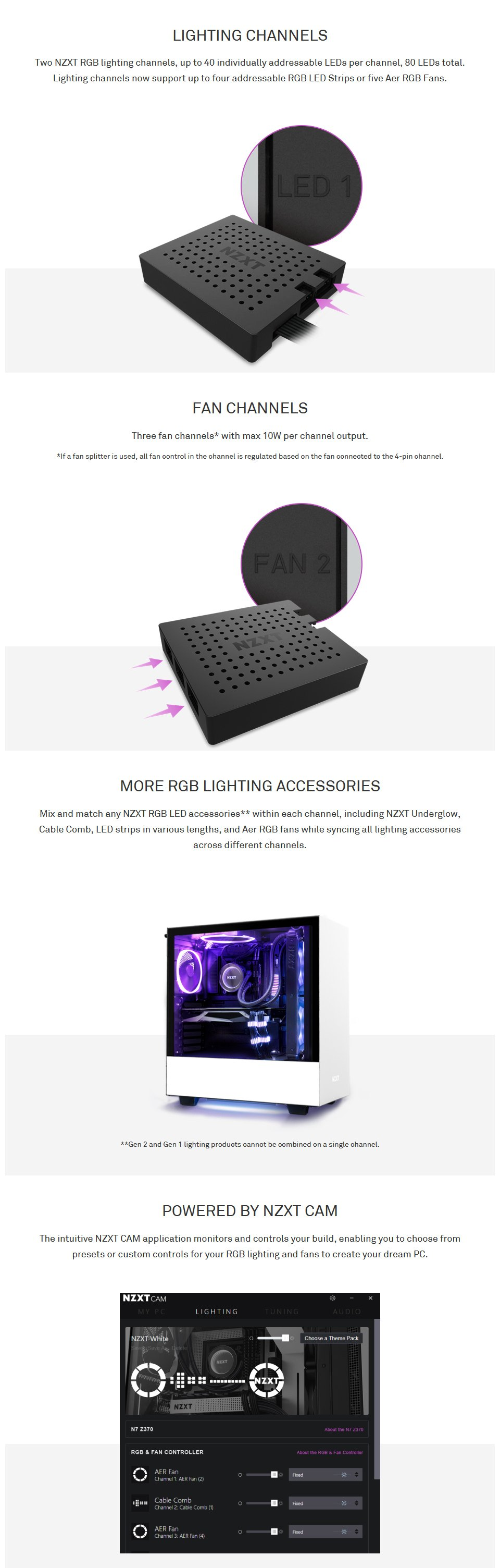 NZXT RGB and Fan Controller features