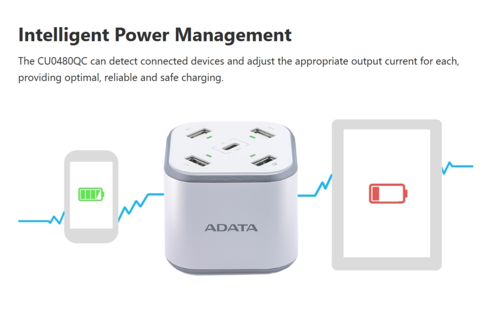 Adata 5 Port USB Charging Station with QC3.0 White features 5