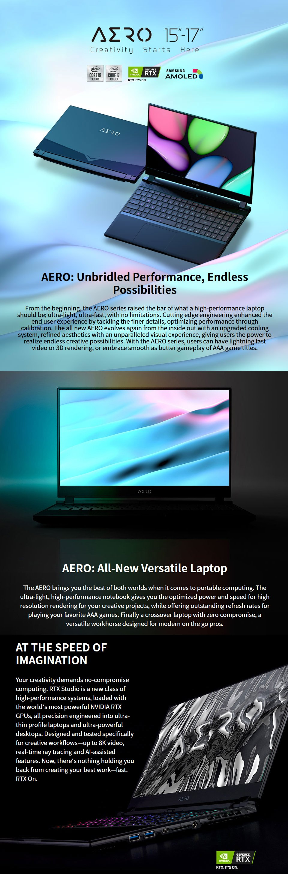 Gigabyte AERO 17 Core i9 RTX 2070 Super 17.3in UHD HDR Laptop features