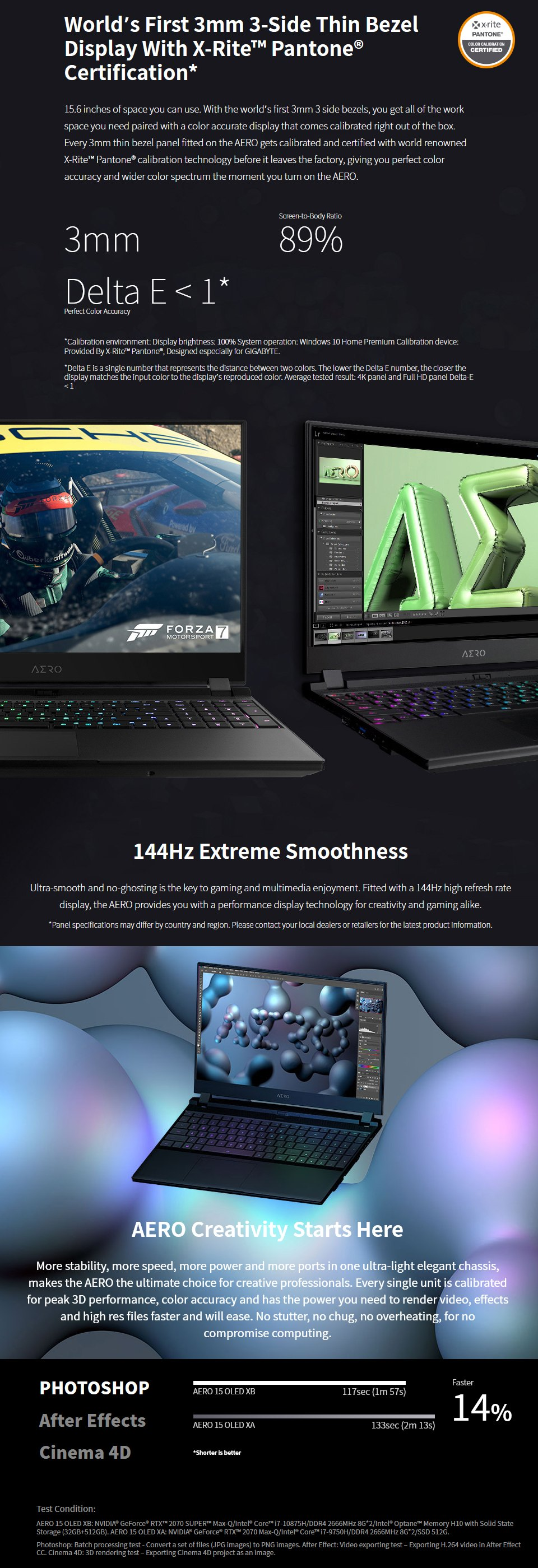 Gigabyte AERO 15 Core i7 RTX 2060 15.6in FHD 144Hz Laptop features 2