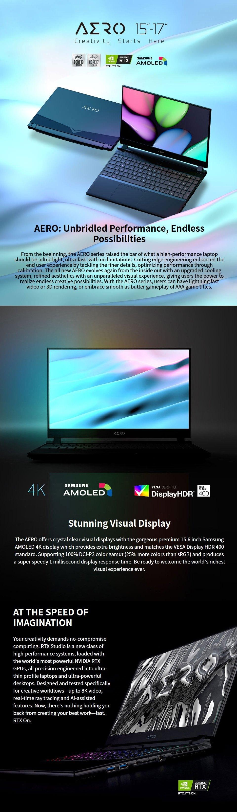 Gigabyte AERO 15 Core I7 RTX 2070 Super 15.6in OLED UHD Laptop features