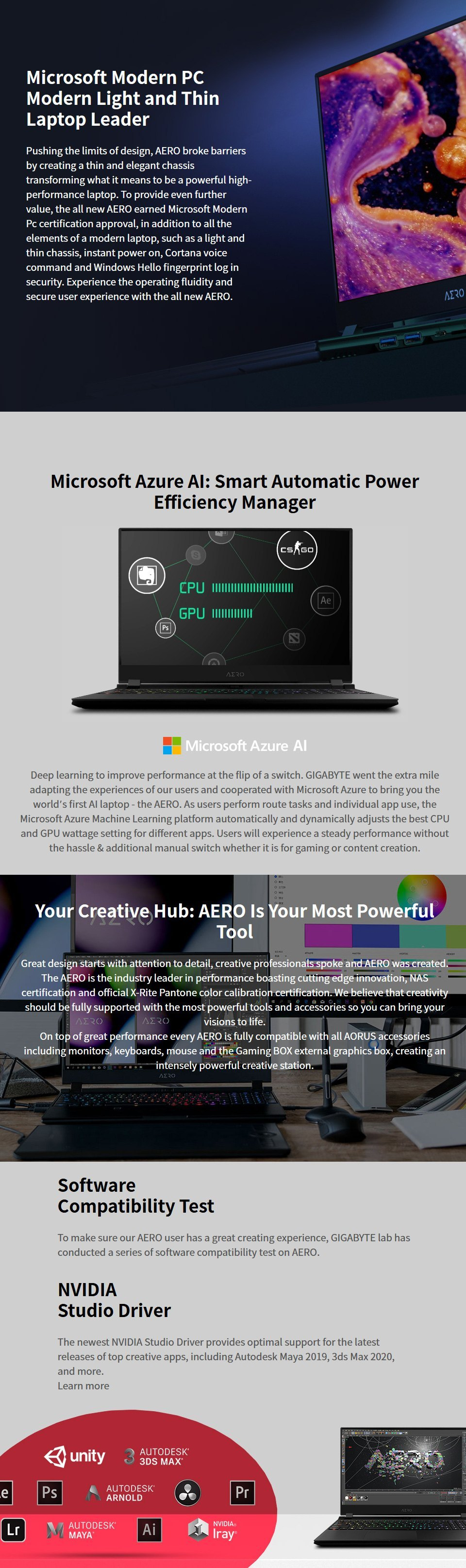 Gigabyte AERO 15 Core I7 RTX 2070 Super 15.6in OLED UHD Laptop features 4