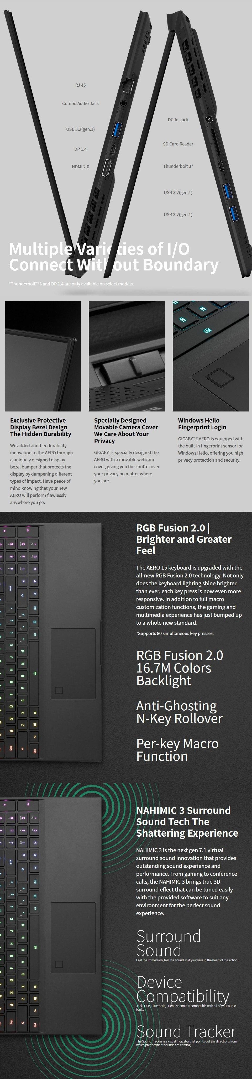 Gigabyte AERO 15 Core i7 RTX 2080 Super 15.6in OLED UHD Laptop features 5