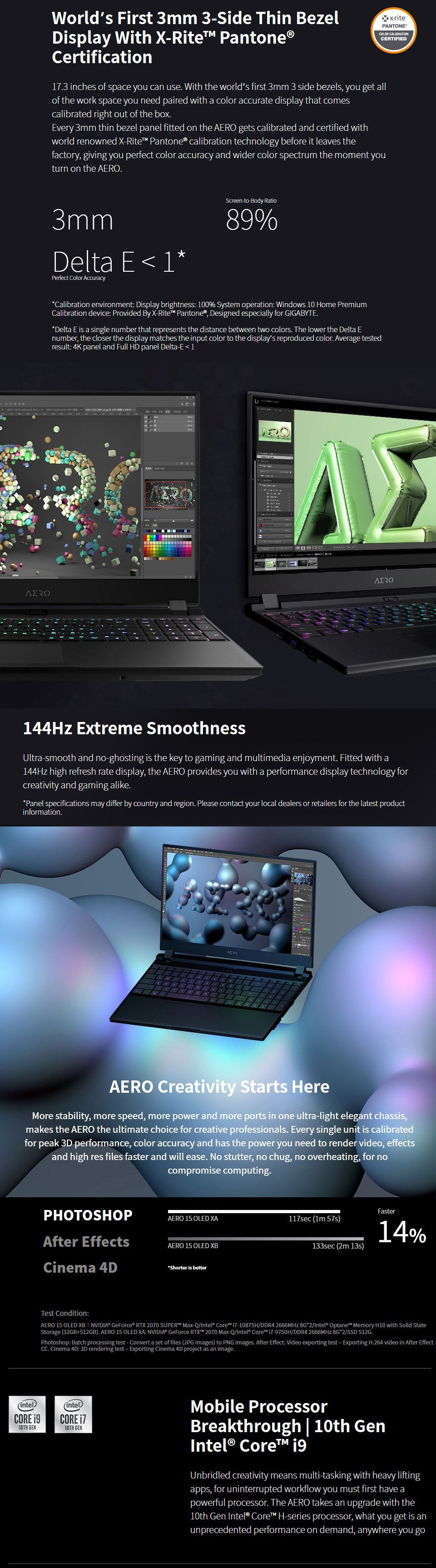 Gigabyte AERO 17 Core i7 RTX 2070 Super 17.3in 144Hz Gaming Laptop features 2