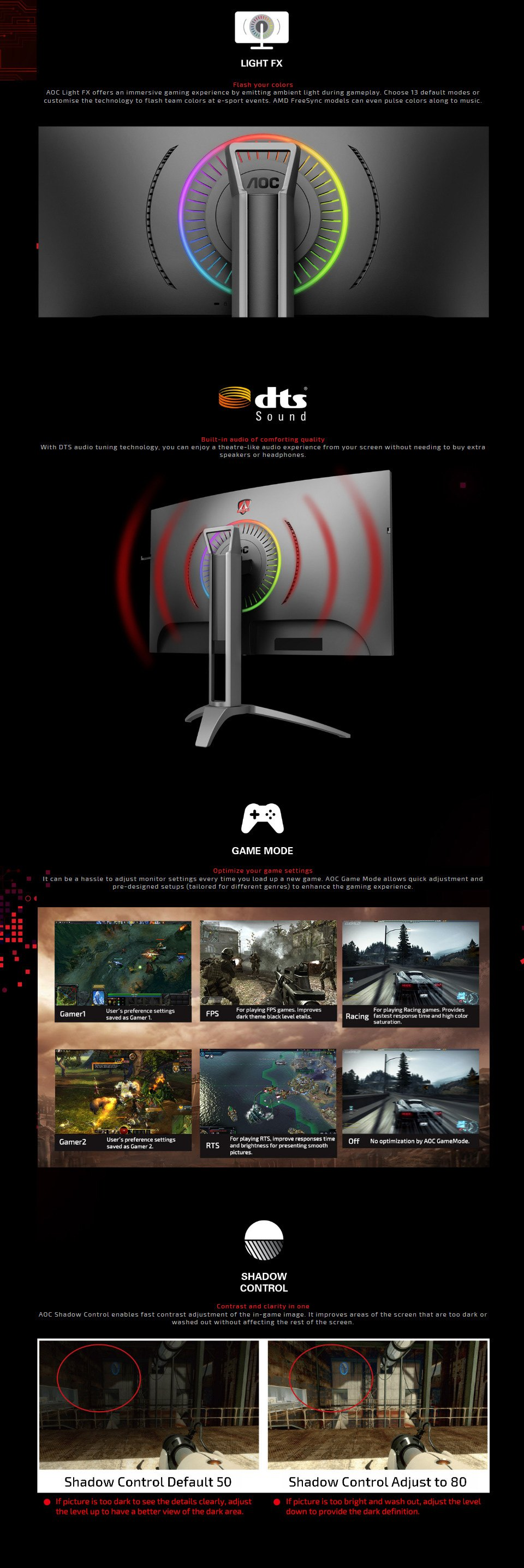 AOC AG323QCXE QHD 144Hz FreeSync HDR Curved 31.5in Monitor features 2
