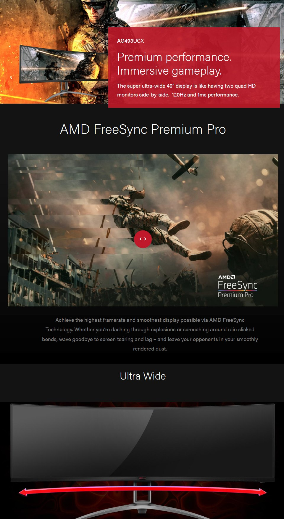 AOC AG493UCX UWUHD 120Hz FreeSync HDR 49in Monitor features