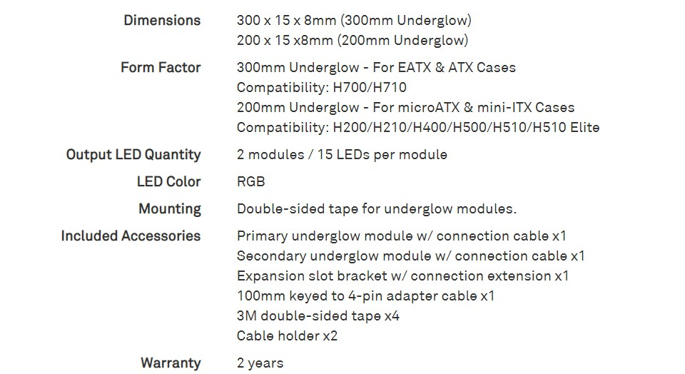 NZXT HUE 2 RGB Underglow Accessory 200mm