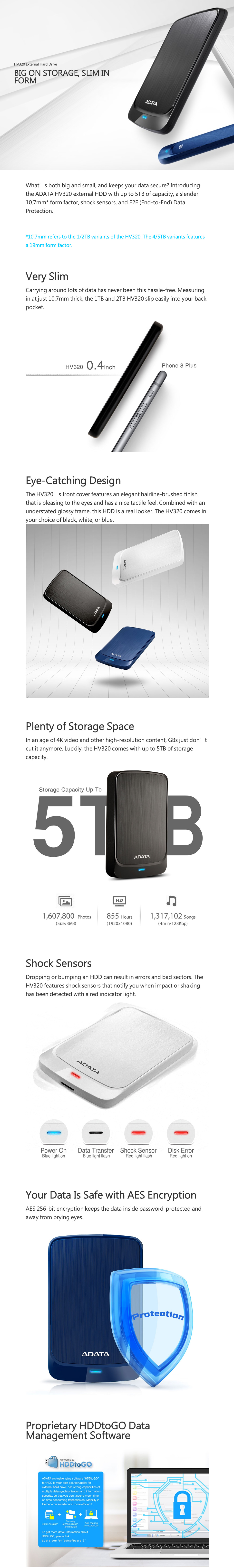 ADATA HV320S 1TB 2.5in External HDD Black features