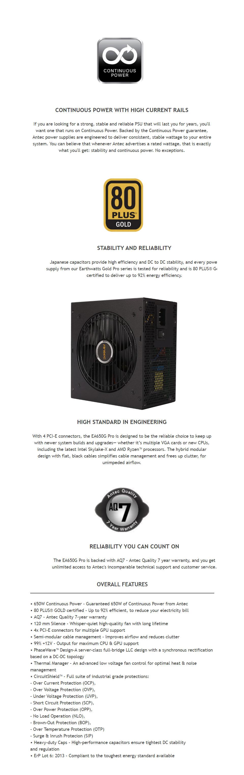 Antec Earthwatts EA650G-Pro 650W Power Supply [ANT-PSU