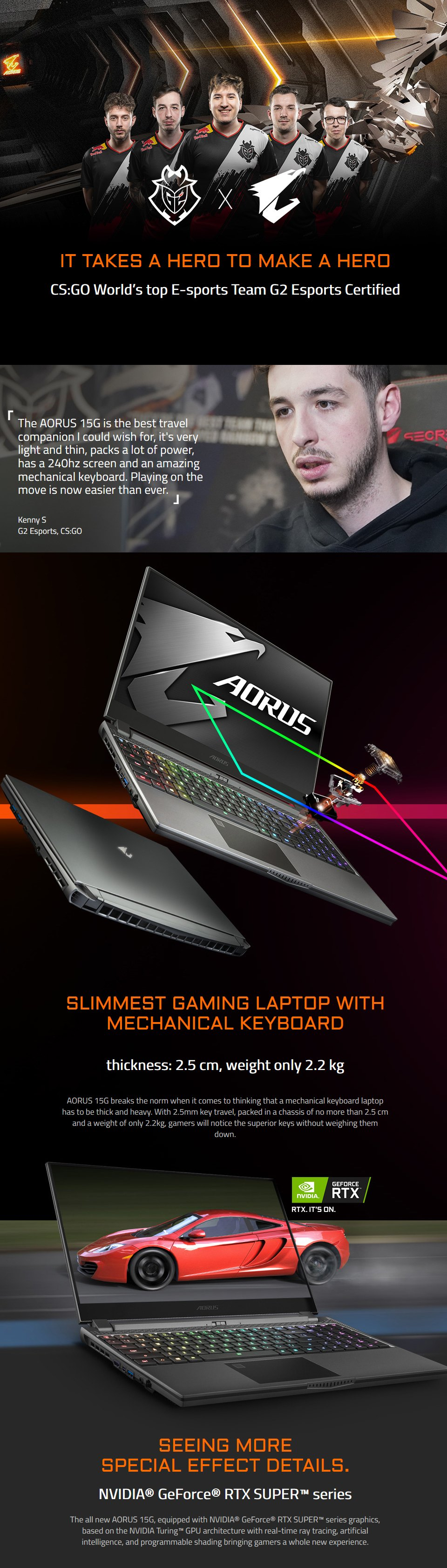 Gigabyte AORUS 15 Core i7 RTX 2070 Super 15.6in 240Hz Gaming Laptop features