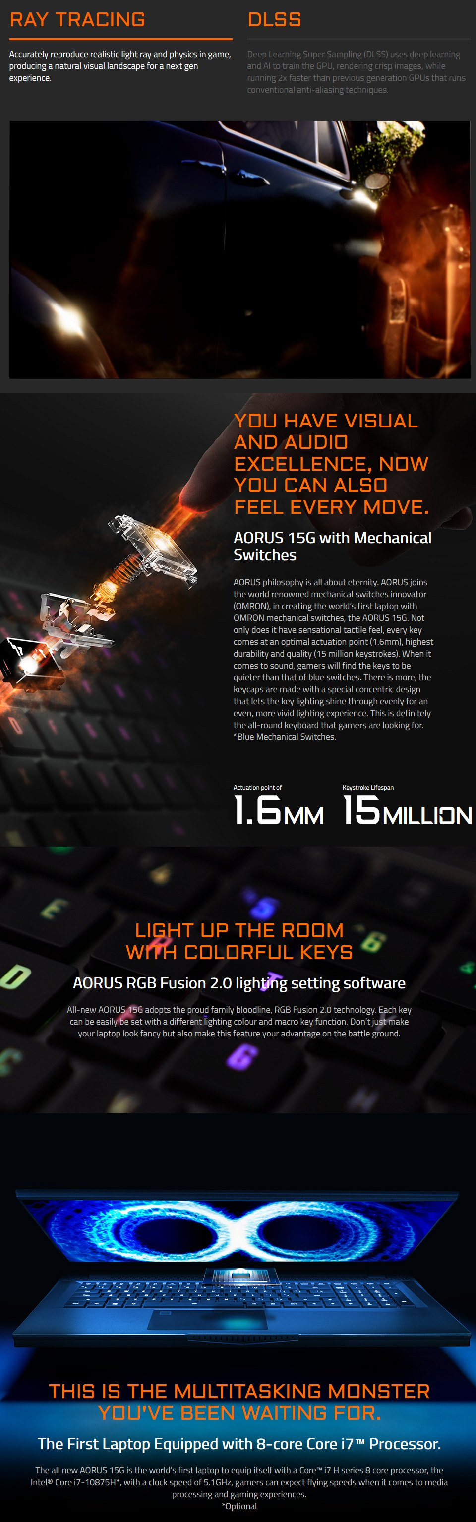 Gigabyte AORUS 15 Core i7 RTX 2070 Super 15.6in 240Hz Gaming Laptop features 2