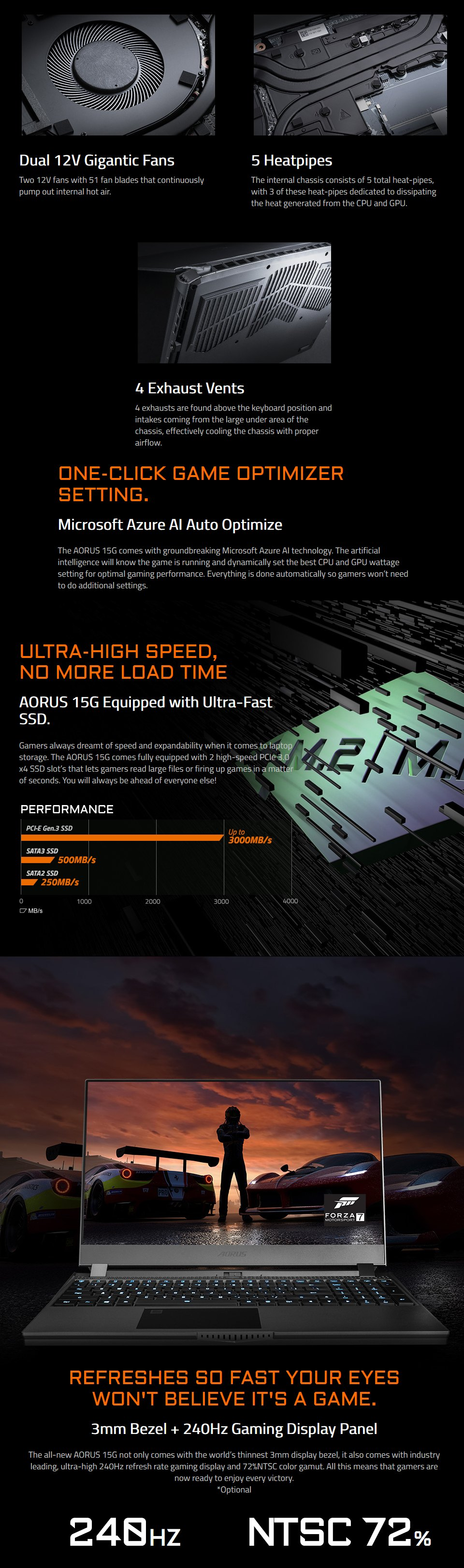 Gigabyte AORUS 15 Core i7 RTX 2070 Super 15.6in 240Hz Gaming Laptop features 4