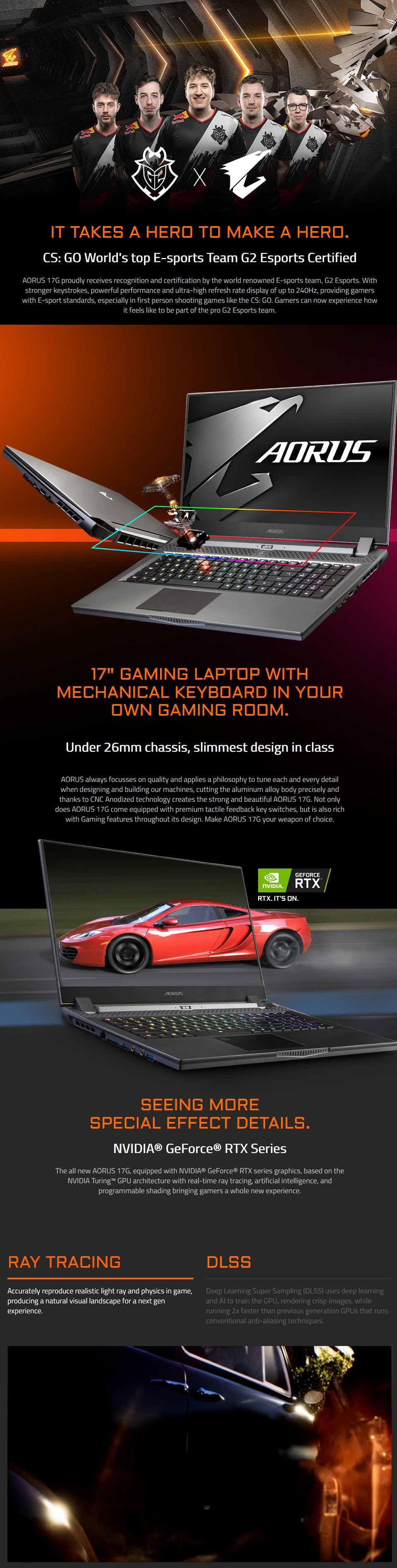Gigabyte AORUS 17 Core i7 RTX 2060 17.3in 240Hz Gaming Laptop features