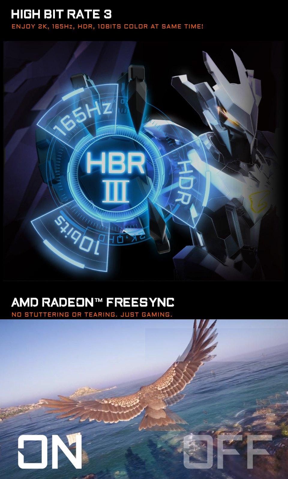 Gigabyte Aorus FI27Q-P QHD 165Hz FreeSync HB3 27in Monitor features