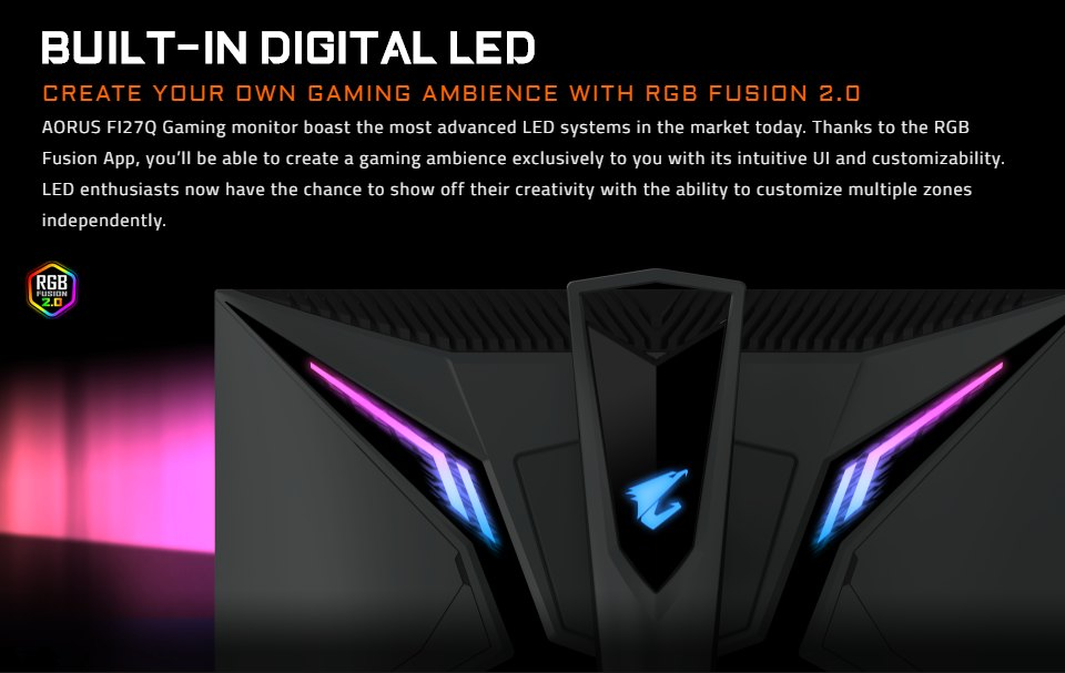 Gigabyte Aorus FI27Q QHD 165Hz FreeSync 27in Monitor features