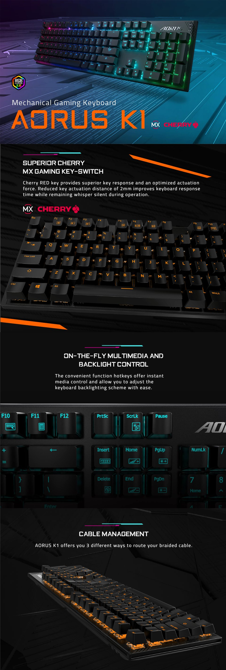 Gigabyte AORUS K1 RGB Mechanical Keyboard Red Switch features