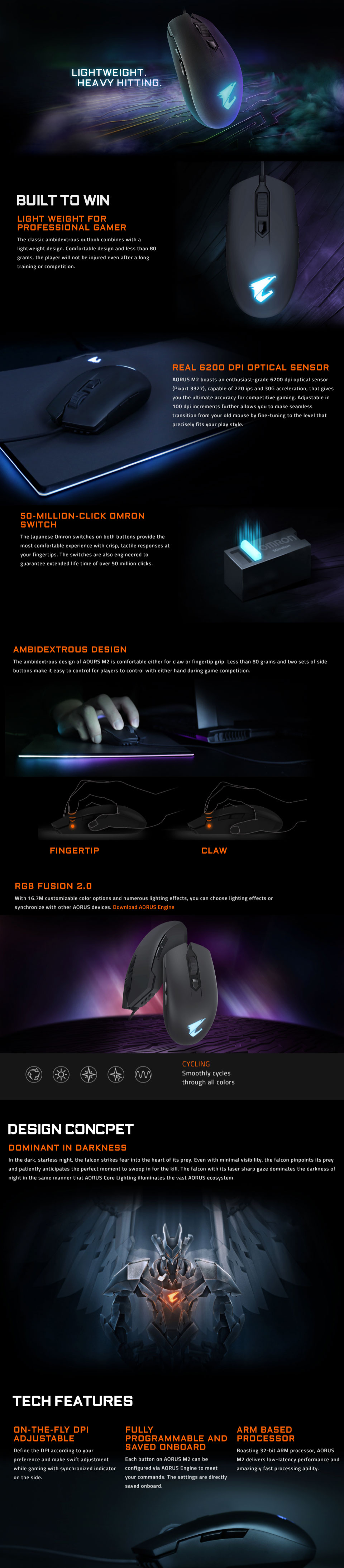 e35755aefc9 ... RGB Fusion 2.0 allowing you to synchronise with other AORUS devices, an  ambidextrous design developed for palm and claw grips, two thumb buttons on  both ...