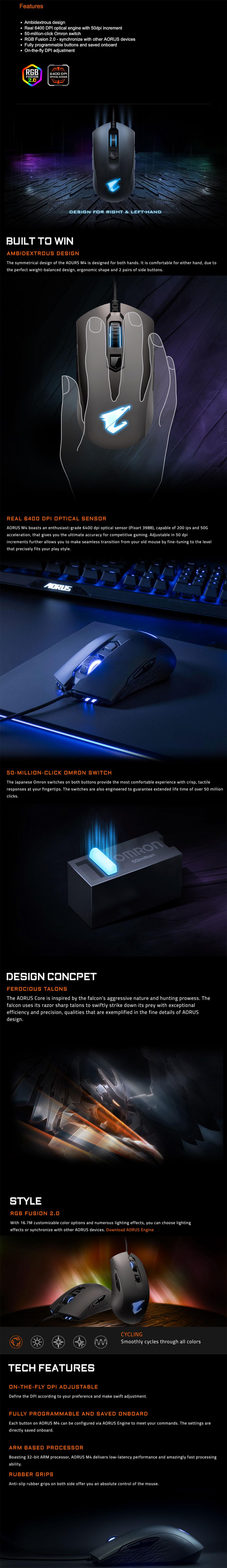 Gigabyte AORUS M4 RGB Gaming Mouse