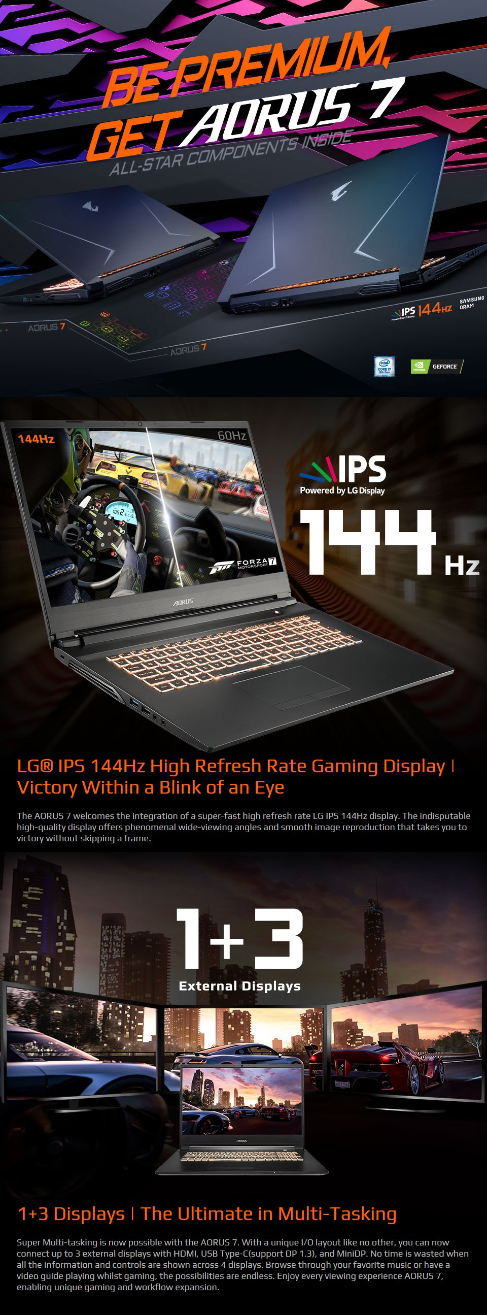 Gigabyte AORUS 7 Core i7 GTX 1660 Ti 17.3in 144Hz Gaming Laptop [SA] features