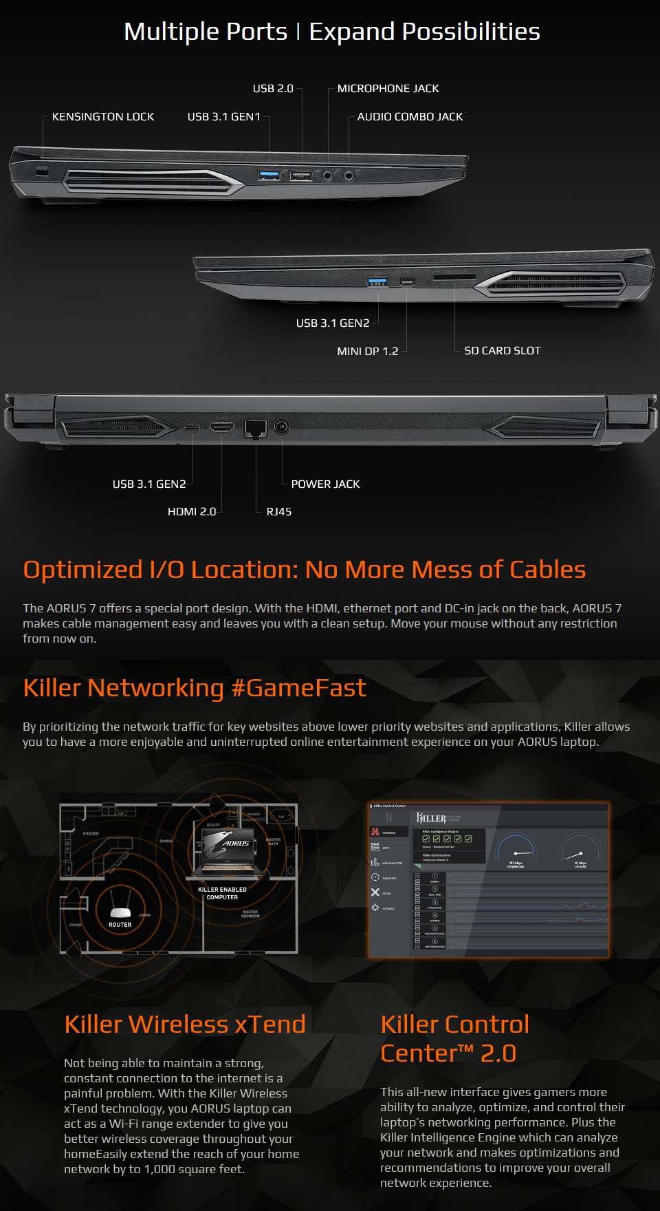 Gigabyte AORUS 7 Core i7 GTX 1660 Ti 17.3in 144Hz Gaming Laptop [SA] features 3