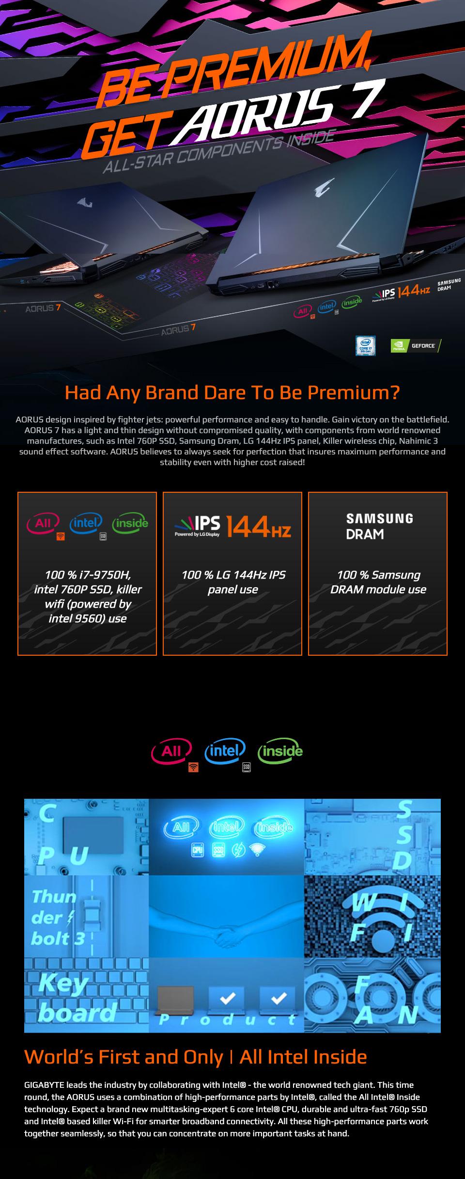 Gigabyte Aorus 7 Core i7 GTX 1660Ti 17.3in 144 Hz Notebook features