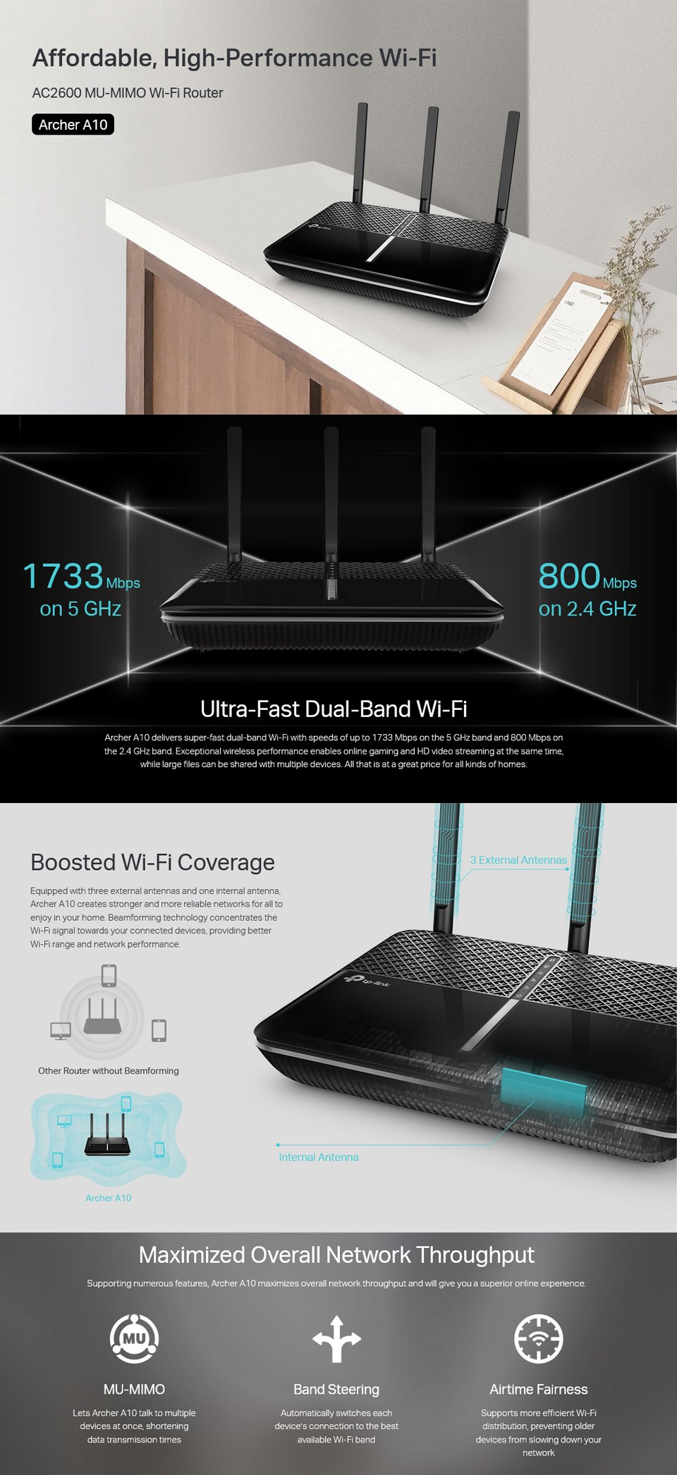 TP-Link Archer A10 AC2600 Wireless Router features