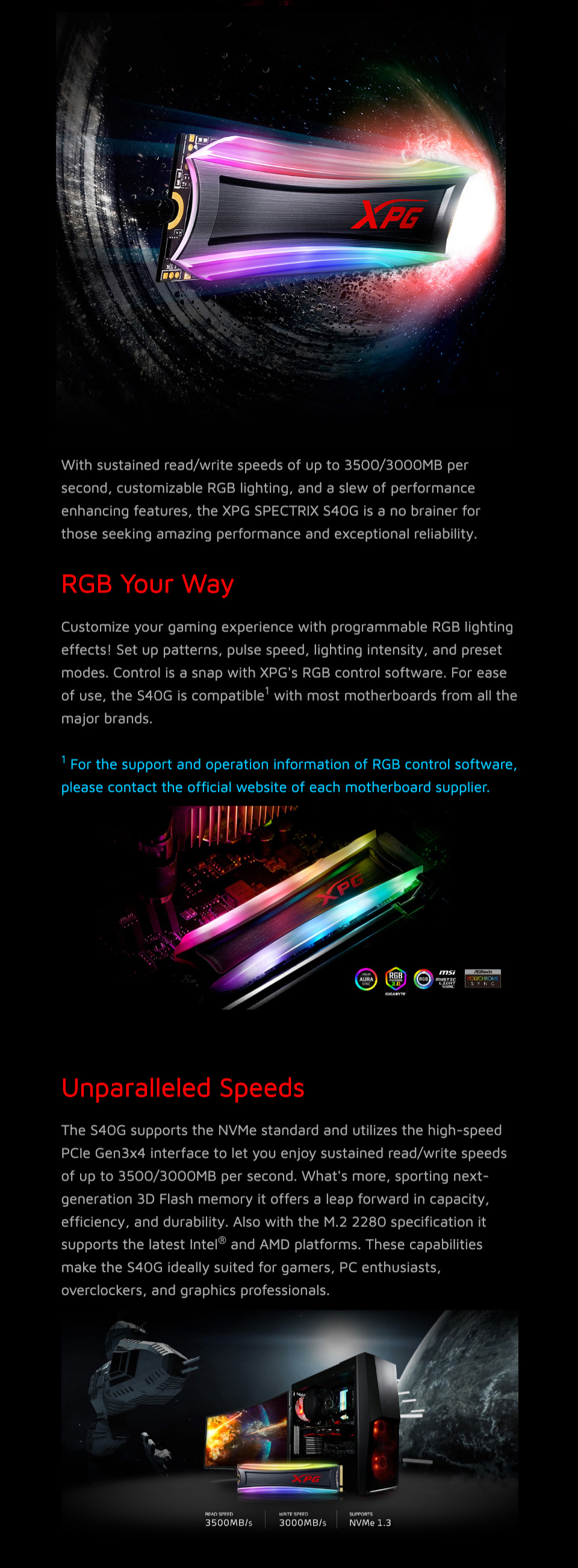 ADATA XPG S40G RGB M.2 NVMe Solid State Drive 2TB features