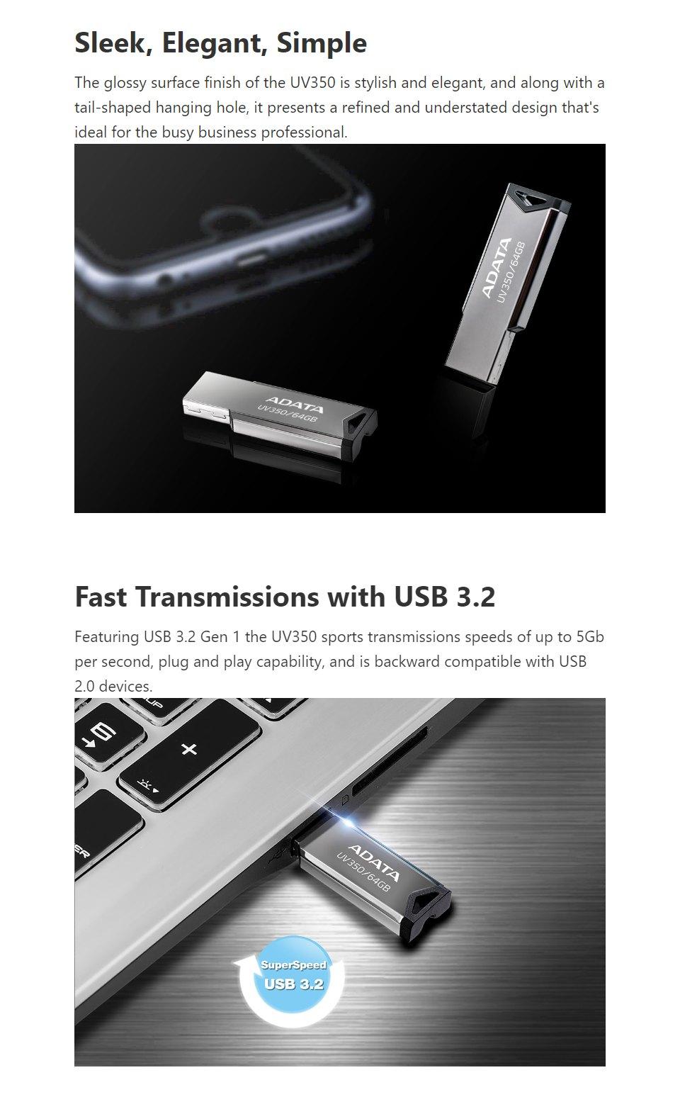 ADATA UV350 USB 3.2 Flash Drive 64GB features