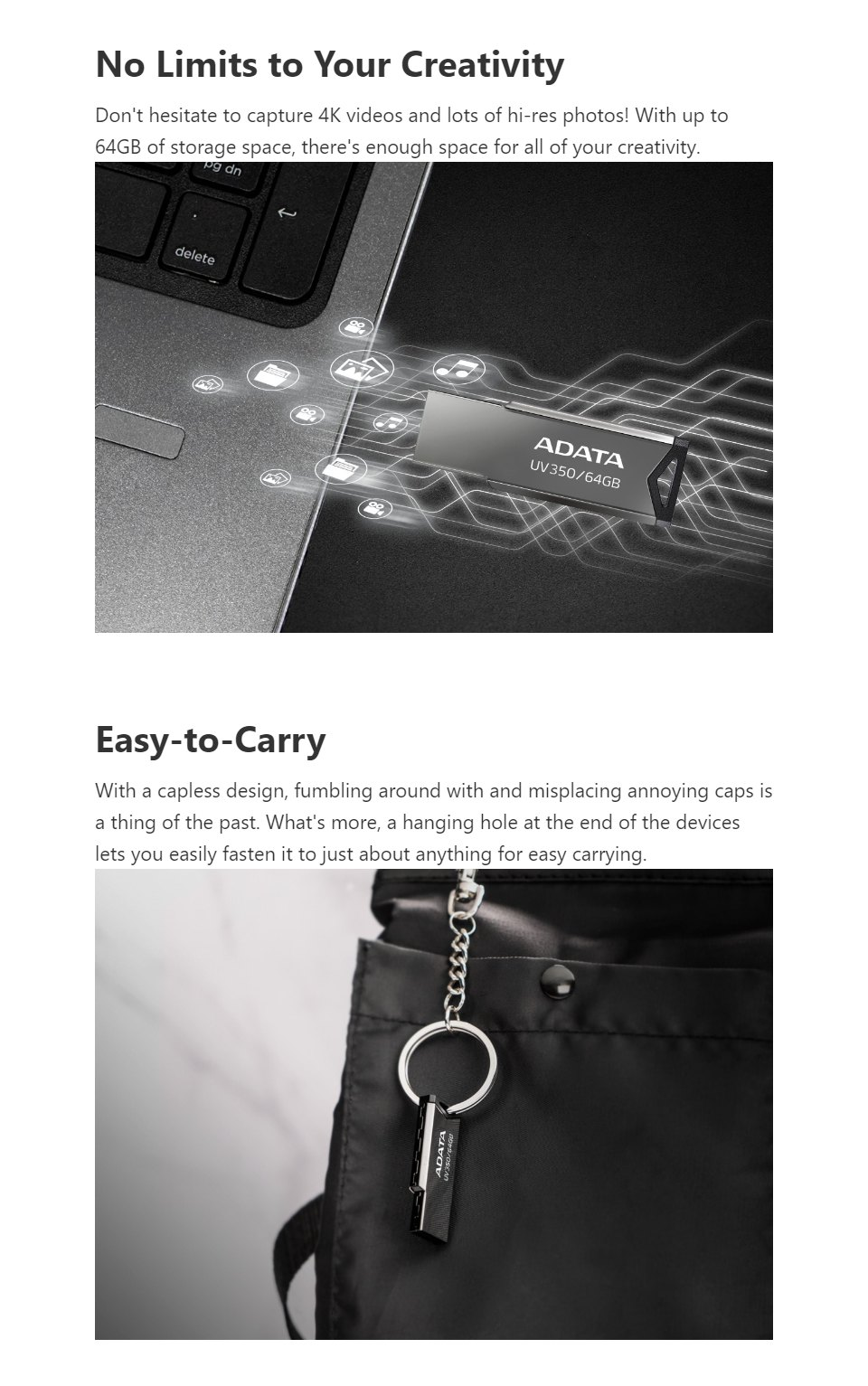 ADATA UV350 USB 3.2 Flash Drive 64GB features 2
