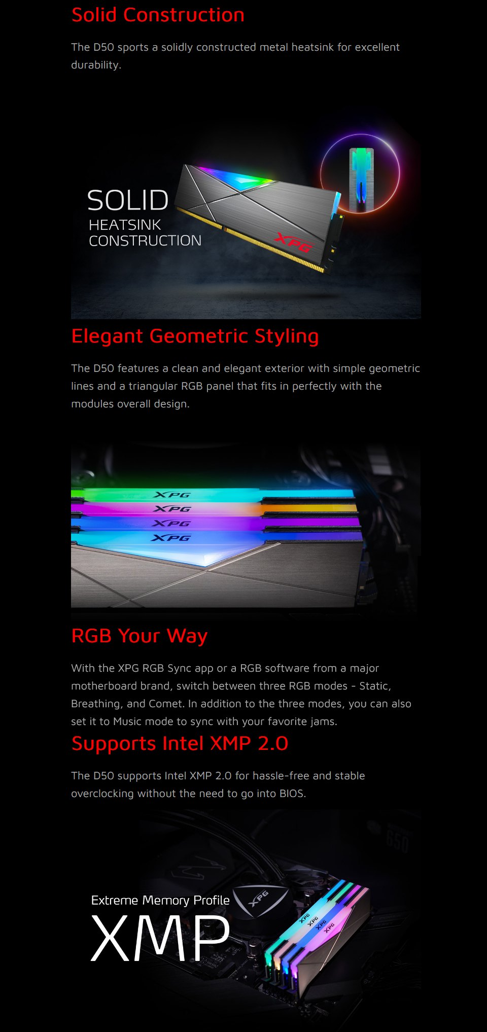 XPG Spectrix D50 RGB 16GB (2x8GB) 3600MHz CL18 DDR4 features