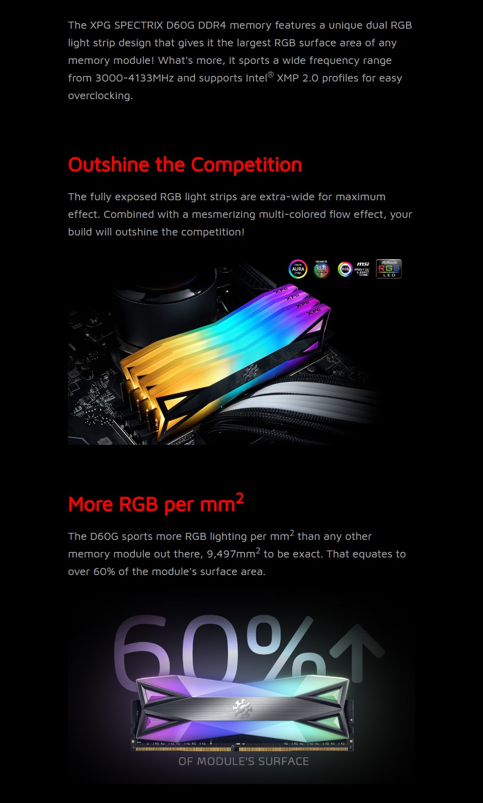 ADATA XPG Spectrix D60G RGB 16GB (2x8GB) 3600MHz CL18 DDR4 Grey features