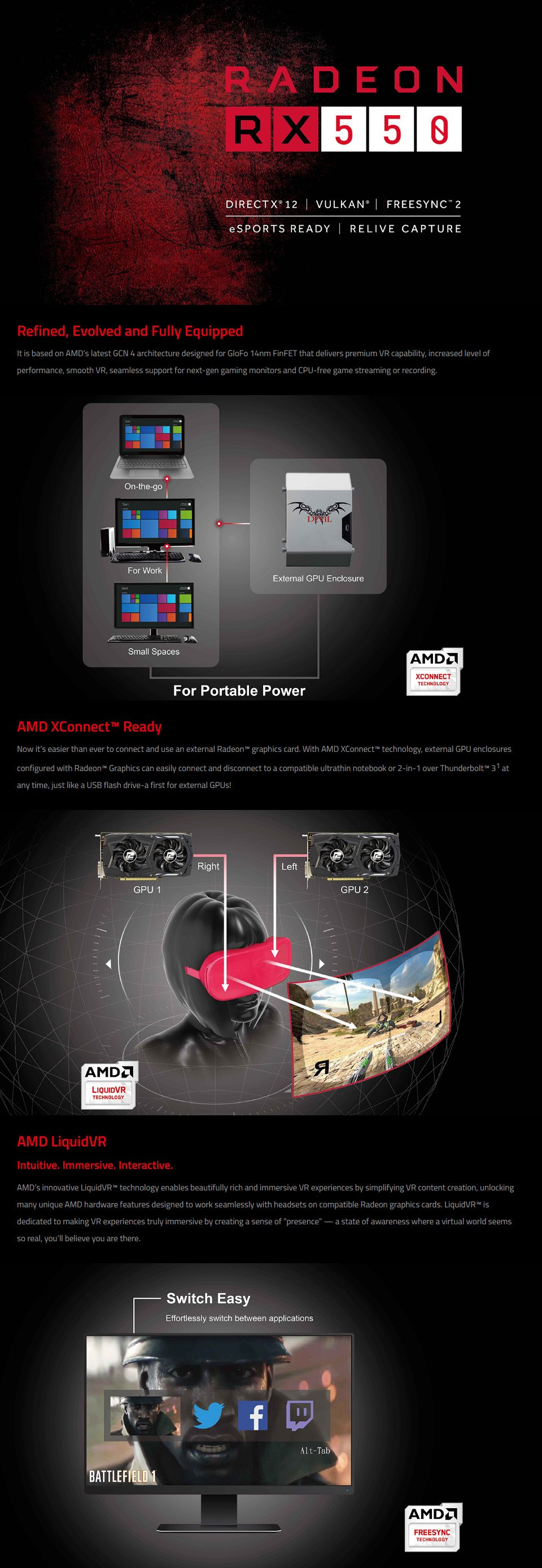 PowerColor Radeon RX 550 Red Dragon Edition 4GB features