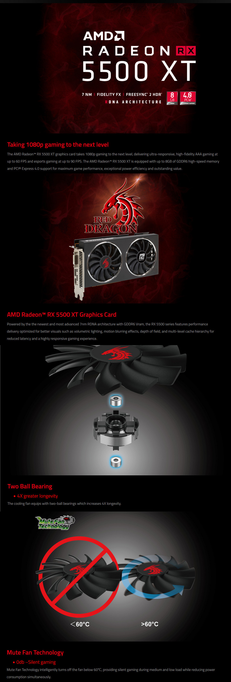 PowerColor Radeon RX 5500 XT Red Dragon 8GB features 1