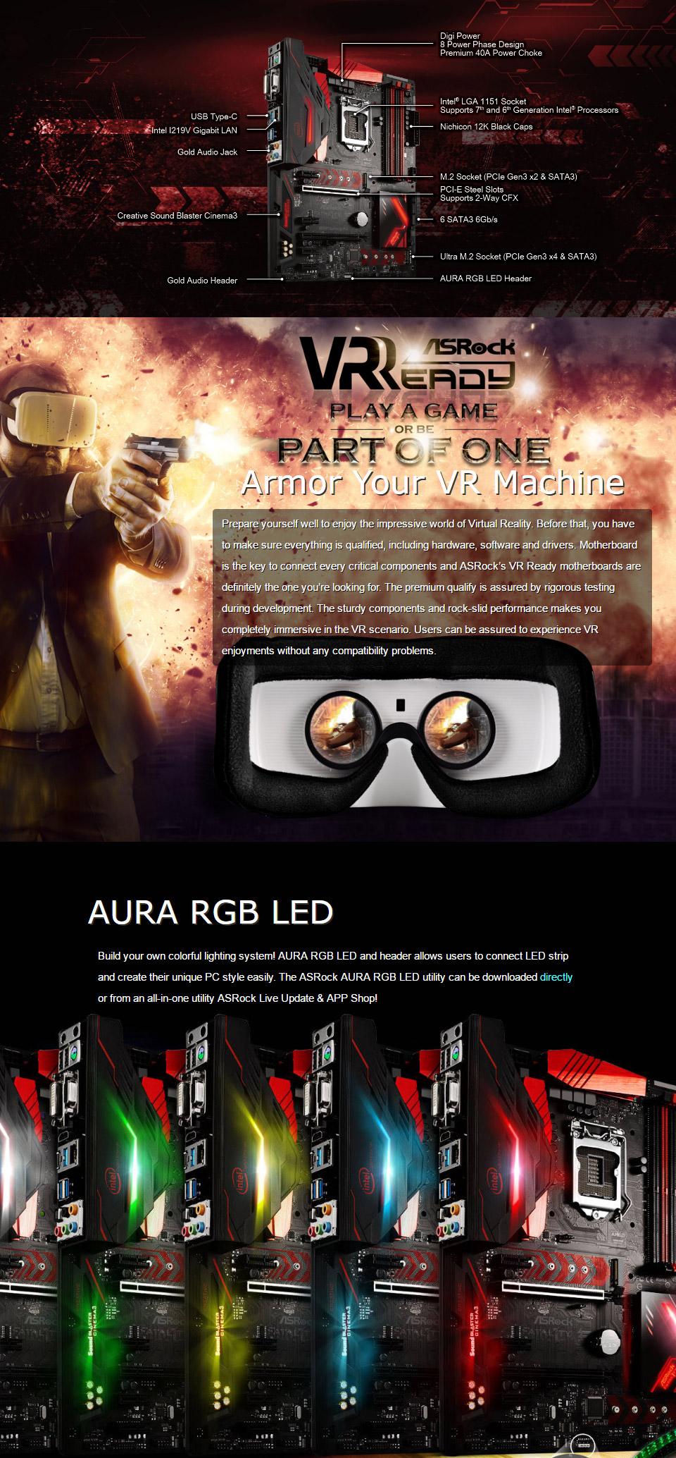 ASRock B250 Gaming K4 Motherboard [B250-GAMING-K4] : PC Case Gear