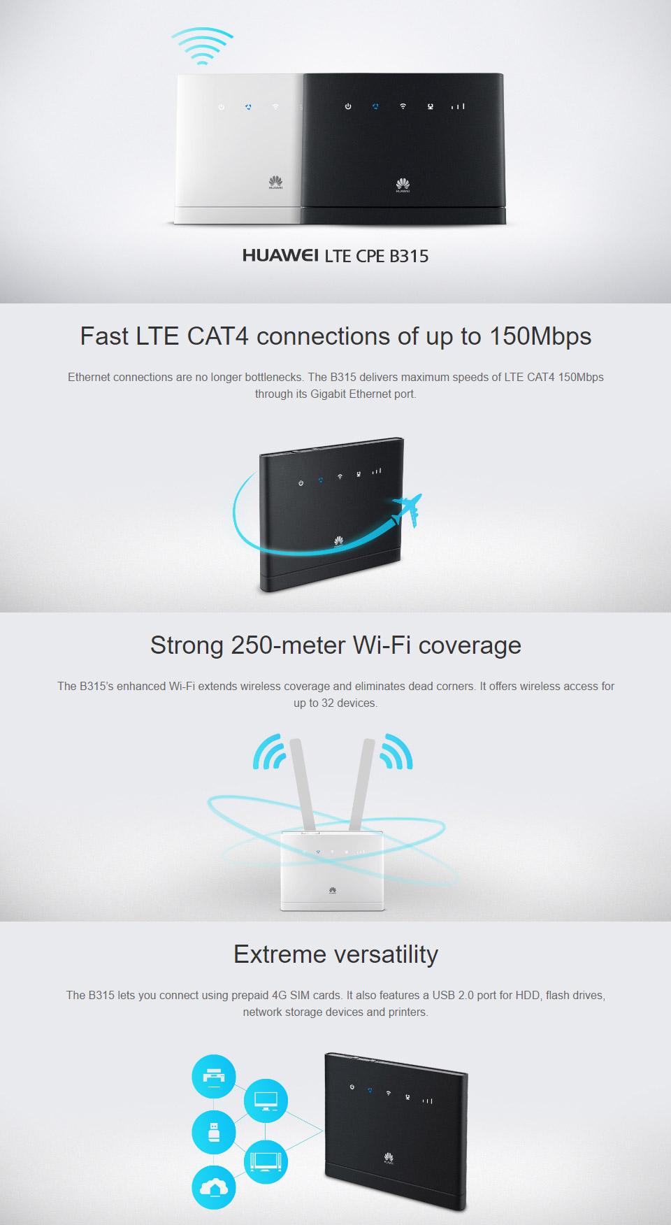 Huawei LTE CPE-B315 4G Modem Router [B315S-607] : PC Case Gear