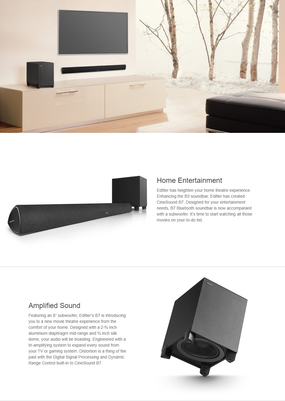 Edifier B7 CineSound Soundbar Speaker System Black features