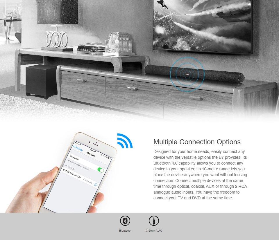 Edifier B7 CineSound Soundbar Speaker System Black features 3
