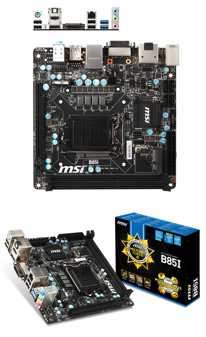 MSI B85I Mini ITX Motherboard [B85I] : PC Case Gear