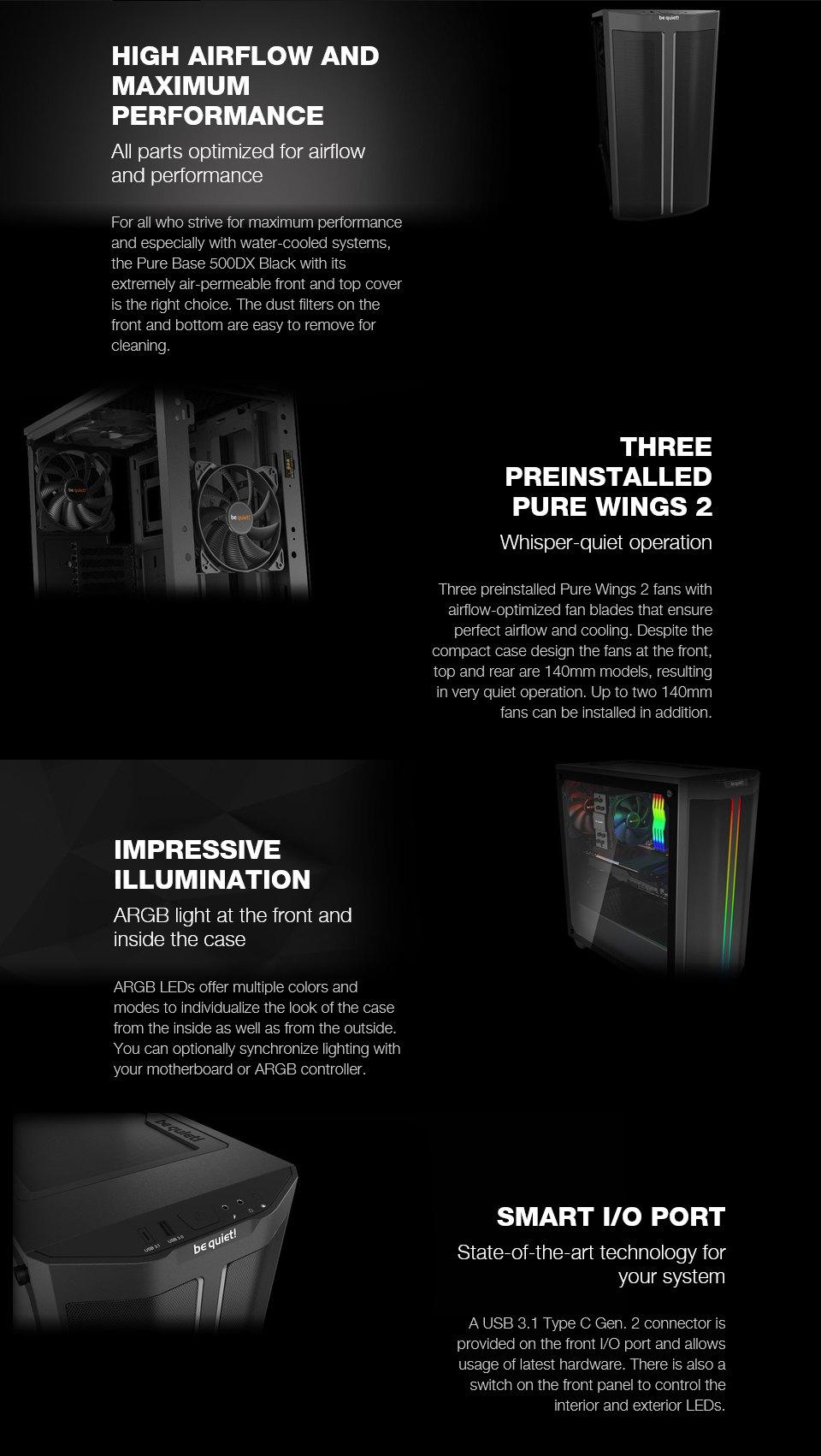 מארז be quiet! Pure Base 500DX RGB Black