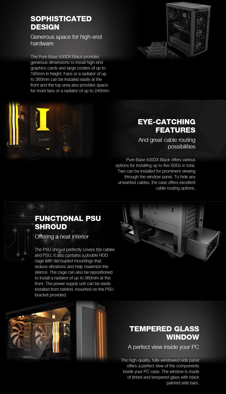 be quiet! Pure Base 500DX RGB Case Black features 2