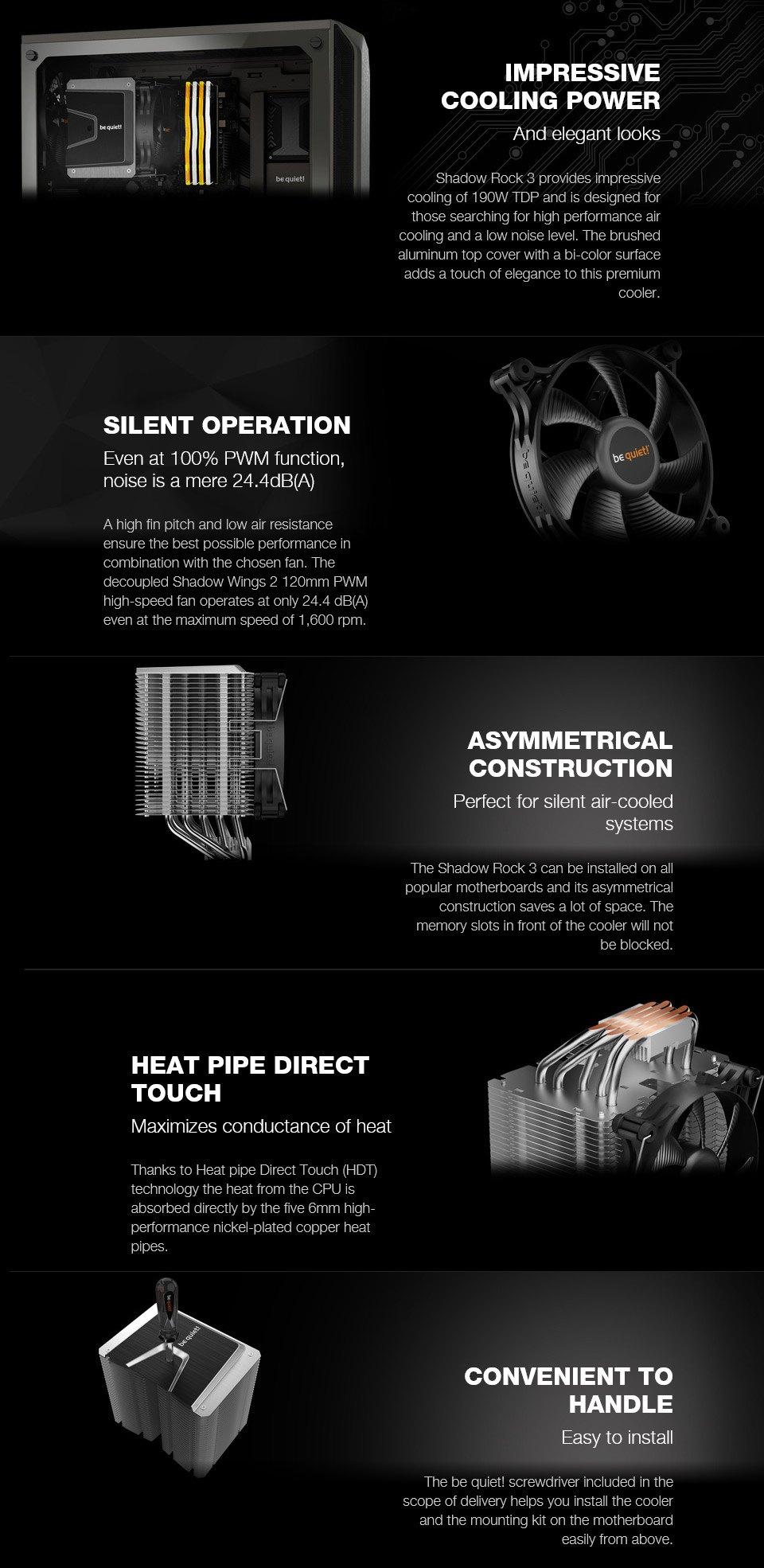 be quiet! Shadow Rock 3 CPU Cooler features