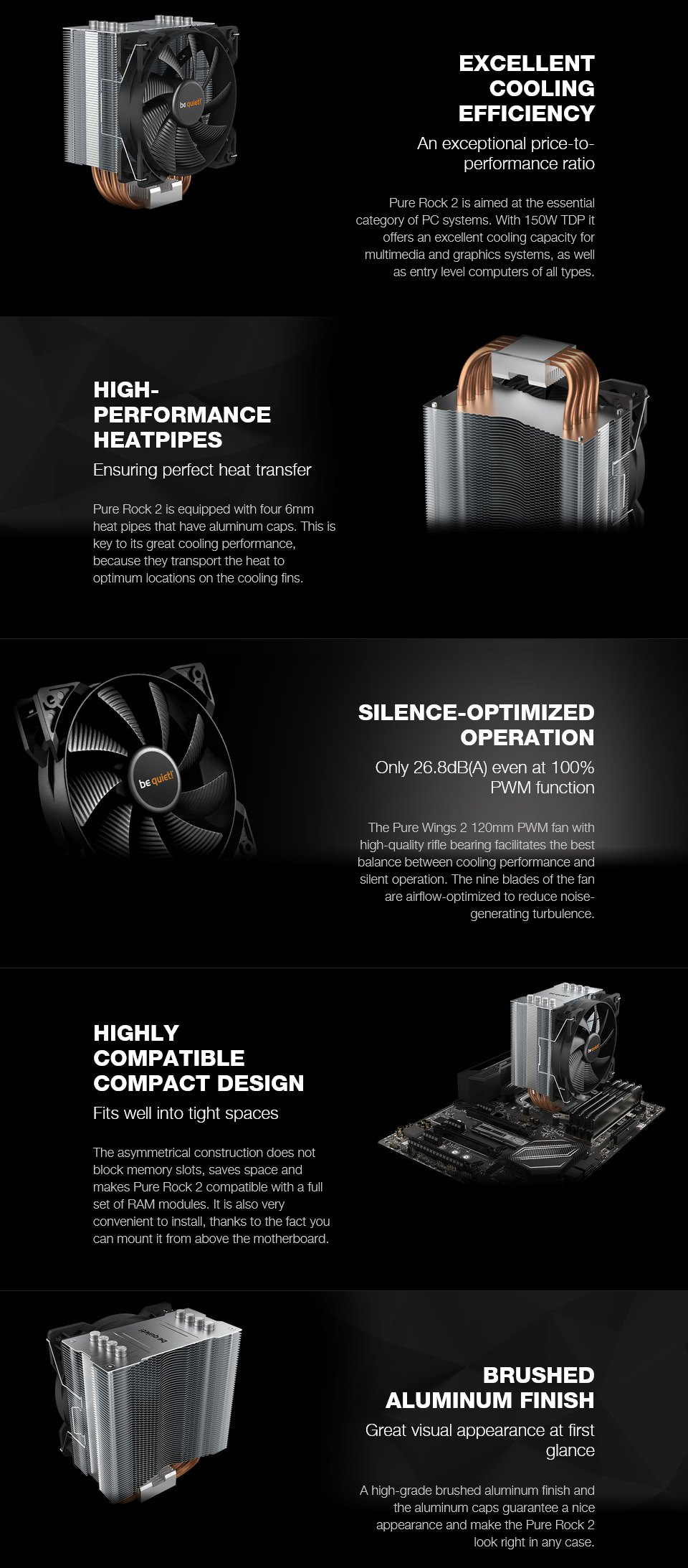 be quiet! Pure Rock 2 CPU Cooler features