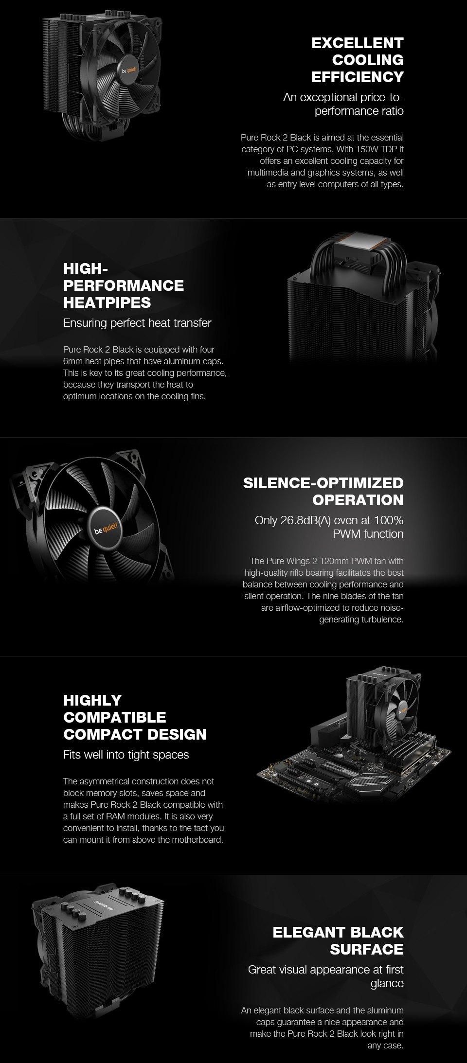 be quiet! Pure Rock 2 CPU Cooler Black features